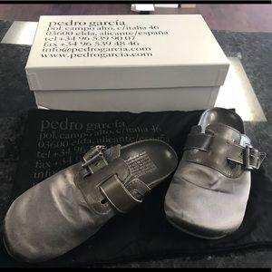 Pedro Garcia Grey satin & leather slides